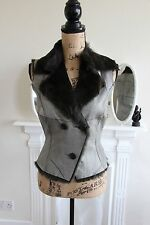 BNWOT Jane Norris Rabbit Fur Lined Lambskin Gilet Button Vest 10 RRP365 -45%! S