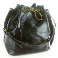 Auth LOUIS VUITTON PETIT NOE Drawstring Shoulder Bag Purse Epi M59012 Noir Black