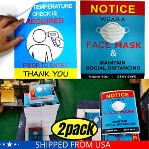 """Sticker FACE MASK REQUIRED TEMPERATURE CHECK sign VINYL  8 X 10"""" (2 pack) US"""