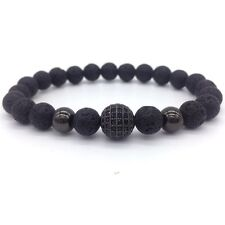 8MM High Quality Lava Stone Beads And Black CZ Ball Men Charm Fashion Bracelets