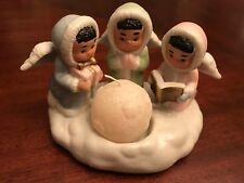 Votive Holder or Figurines, Angel Trio, Porcelain with Glitter, Christmas Decor