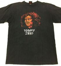 Vtg 90's Zero Skateboards T-Shirt Tommy Sandoval Head Skull Logo Skate Tee Sz M