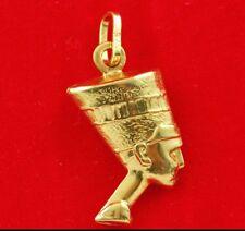 NEW 9ct Yellow Gold 3D Queen Nefertiti Charm 375 Pendant 9KT Egypt Symbol Travel