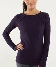 Lululemon Full Tilt Long Sleeve Plum Stripe Purple  Sz 4 ruffle lace rulu