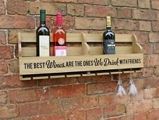 Wine Rack 8 Bottles and Glass Holder Storage Wooden Wall Decor Display 73cm