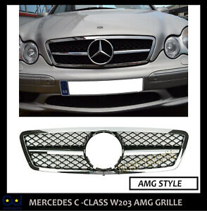 MERCEDES C CLASS W203 AMG SPORT LOOK GRILL C320 C55 C180 C200 C220 C230 C270 CDI