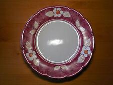 "BUONO ITALIA Italy Set of 2 Dinner Plates 12 3/4"" Red Rim White Flowers Handpain"