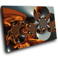 AB562 Orange Black Grey Cool Modern Abstract Canvas Wall Art Large Picture Print