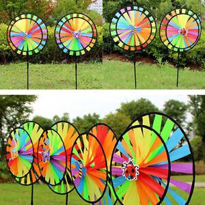 Double Layer Colorful Wheel Windmill Wind Spinner Kids Toys Garden Yard  TD Ew