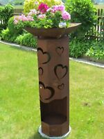 8 Eck Säule Rost Herz Edelrost Metall Edelstahlkugel Gartendeko Dekoration Liebe