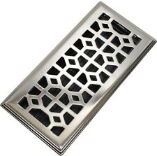 4 x 10 in. Abstract Steel Floor Register Brushed Nickel Modern Air Vent Grate