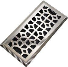 4 x 10 in. Abstract Steel Floor Register Brushed Nickel Modern Air Vent Grate