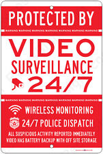 Protected By Video Surveillance CCTV Warning Security Camera Aluminum Sign RD/WH