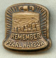 """WWII """"Remember Pearl Harbor"""" Pin Made of Pressed Sawdust & Resin"""