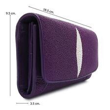 Purple Stingray Leather Lady Wallet Wide 9.5 cm. Long 18.5 cm. Thick 3.5 cm.
