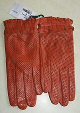 Paire de gants orange en cuir neuf taille M étiqueté à 59€