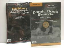 100 BCW GOLDEN AGE Comic Size Bags (7 5/8) & Boards (7 1/2) Storage/Supplies