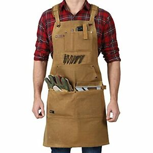 Woodworking Shop Apron - 20 OZ Heavy Duty Waxed Canvas Work Apron with Brown