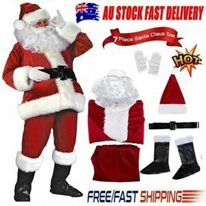 Santa Claus Costume Suit Adult Father Christmas Fancy Dress Mens Xmas Outfit UN