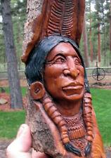 Wood Spirit Carving Cottonwood Bark Art Sculpture Native American Indian Head