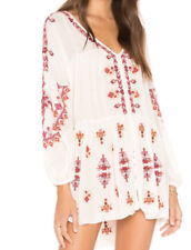 People Arianna Embroidered Boho Tunic Top Ivory Medium M Ob800766