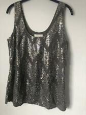 Women Multi Color Sabine Sleeveless Sequin  Scoop Neckline Top sz L