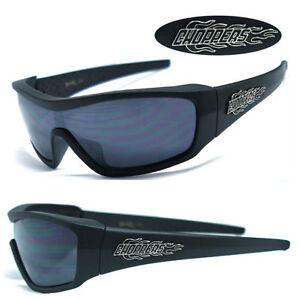 Mens Choppers Motorcycle Riding Sports Fire Logo Sunglasses - Matte Black C40