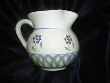 CALECA GRECA 1.25 QUART PITCHER BLUE GREEN ARCHES ITALY MULTI COLORED FLOWERS