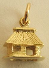 GENUINE SOLID 9ct Yellow Gold 3D OLD HOUSE HUT CHARM/PENDANT