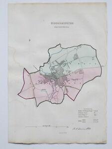 1837 KIDDERMINSTER GENUINE ANTIQUE MAP DAWSON & REPORT HAND COLOURING