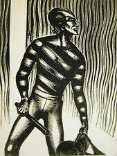 Lynd Ward 1930 SLAVE TRADER w STOLEN AFRICAN DRUM & SWORD  Art Deco Print Matted