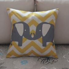 Grey Elephant Zig Zag Cotton Linen Throw Pillow Cushion Cover Home Decor Z371