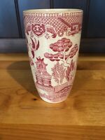 Vintage Blue Willow pattern Pink/Red Willow tall Drinking cup very rare