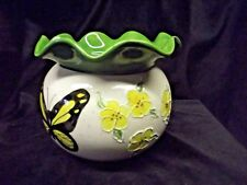 """Handpainted African Violet Pot """"Yellow Wildflowers, Green Speck & Butterfly"""""""
