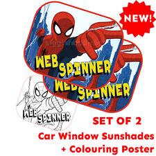 SPIDER-Man Set di 2 Pellicole Protettive Per Finestra Auto Sun Shades Baby Boy Bambini + poster