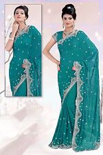 Exclusive Turquoise Bollywood Wedding Designer Sequins Work Indian Sari 2476