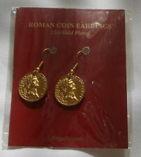 Beautiful Brand New Pair of Roman Coin Earrings 22ct Gold Plated Made in U.K.
