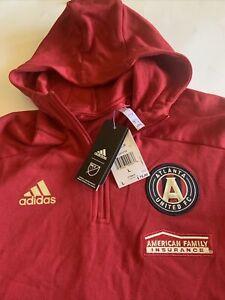 Atlanta United FC Adidas Men's Pullover Large New Hoodie 1/4 Zip MLS L NWT $75