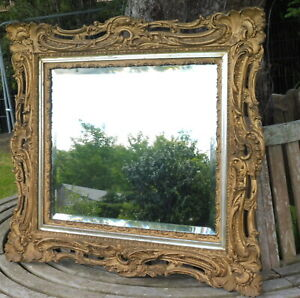 GILDED ROCOCO STYLE WOOD MIRROR 1900 BEVELLED GLASS  FREE SHIPPING ENGLAND