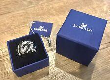 NIB $270 Swarovski Chic Ring Zebra Black & Clear Crystal Size 52 US 6 S 5037429