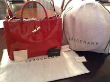 Longchamp Roseau Box Medium Patent-Leather Tote Color Terra Cotta