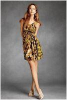 BHLDN Anthropologie Starburst Pleated Floral Dress Silk Linen Blend NWOT