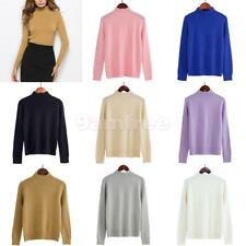 Womens Casual Long Sleeve High Neck Knit Jumper Warm Ribbed Stretch Top Sweater