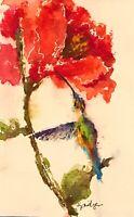 ACEO ATC Art Card Painting Print Signed Bird Hummingbird Lily Lillies Flowers