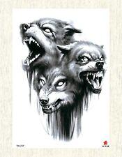 "US SELLER, fake tattos wolf animal large 8.25"" arm tattoo"