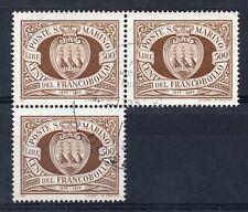 SAN MARINO 1977 Stamp Centenary 500l. SG 1080. Fine Used trio.