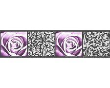 Stick-Ups AS selbstklebende Bordüre 9019-10 Floral Rose Barock schwarz weiß lila