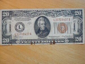 1934 A HAWAII WW2 WORLD WAR TWO II 2 EMERGENCY ONE DOLLAR $20 SILVER CERTIFICATE