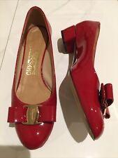 Salvatore Ferragamo Womens 5.5 D Wide Vara Patent Red Bow Pumps