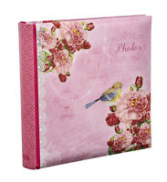 "Large Pink Vintage Birds Memo Slip In Photo Album For 200 Photos 4'' x 6"" -PK200"